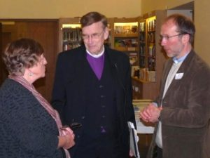 Jack Spong talking with a CRC member and the Vicar
